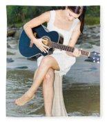 Guitar Woman Fleece Blanket