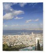 Haifa Bay Panorama Fleece Blanket