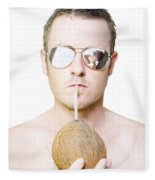 Handsome Summer Man Drinking Coconut Cocktail Fleece Blanket