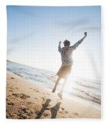 Happiness In The Beach Scenery Fleece Blanket