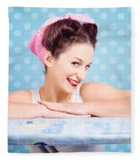 Happy 60s Pinup Housewife On Blue Ironing Board Fleece Blanket