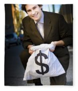 Happy Business Man Smiling With Money Bag Fleece Blanket