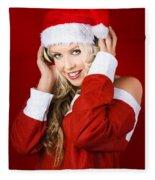 Happy Dj Christmas Girl Listening To Xmas Music Fleece Blanket