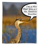 Happy Heron Anniversary Card Fleece Blanket