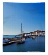 Harbor In Ibiza Town Fleece Blanket