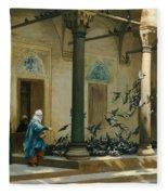 Harem Women Feeding Pigeons In A Courtyard Fleece Blanket