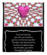 Heart And Love Design 16 With Bible Quote Fleece Blanket