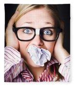 Hectic Business Person Under Stress Overload Fleece Blanket