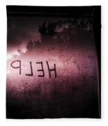 Help Written On A Misty Glass Window. No Escape Fleece Blanket