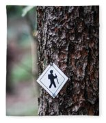Hiking Trail Sign On The Forest Paths Fleece Blanket