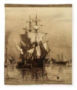 Historic Seaport Schooner Fleece Blanket