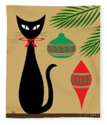 Holiday Cat Fleece Blanket