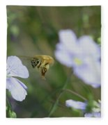 Honeybee At Work  Fleece Blanket