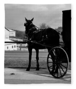 Horse And Buggy And Farm Fleece Blanket