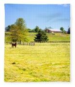 Horse Farm  Fleece Blanket