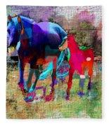 Horses Of Different Colors Fleece Blanket