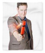 Hostile Male Office Worker Holding Flaming Bomb Fleece Blanket