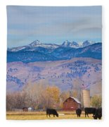 Hot Air Balloon Rocky Mountain County View Fleece Blanket