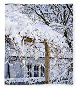 House Under Snow Fleece Blanket