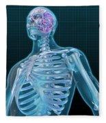 Human Skeleton And Brain, Artwork Fleece Blanket