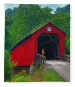 Hune Covered Bridge Fleece Blanket