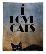 I Love Cats Fleece Blanket