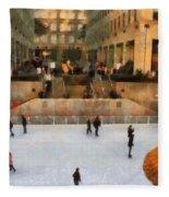 Ice Skating In New York City Fleece Blanket