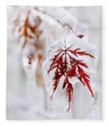 Icy Winter Leaf Fleece Blanket