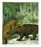 Iguanodon Biting Megalosaurus Fleece Blanket