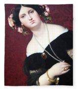 Ingres' Madame Moitessier Abstract Fleece Blanket