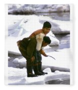 Inuit Boys Ice Fishing Barrow Alaska July 1969 Fleece Blanket