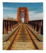 Iron Railroad Bridge Over Water, Texas Fleece Blanket