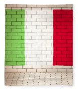 Italy Flag Brick Wall Background Fleece Blanket