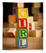 Its A Girl - Alphabet Blocks Fleece Blanket