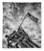 Iwo Jima Memorial Fleece Blanket by Susan Candelario
