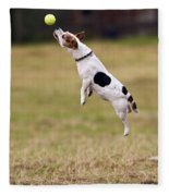 Jack Russell Jumping For Ball Fleece Blanket