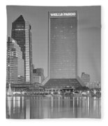 Jacksonville Florida Black And White Panoramic View Fleece Blanket