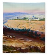 Jerusalem From The Mount Of Olives Fleece Blanket