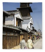 Kawagoe Bell Tower Fleece Blanket