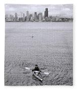 Kayaking Elliot Bay Fleece Blanket