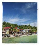 Koh Rong Island Beach Bars In Cambodia Fleece Blanket