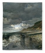 La Pointe De La Heve At Low Tide Fleece Blanket