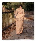 Lady In Regency Dress Walking Fleece Blanket