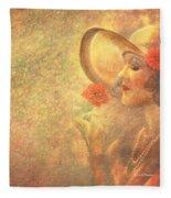 1-lady In The Flower Garden Fleece Blanket
