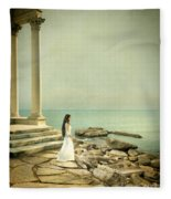 Lady In White By The Sea Fleece Blanket