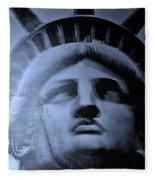 Lady Liberty In Cyan Fleece Blanket