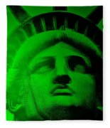 Lady Liberty In Green Fleece Blanket