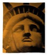 Lady Liberty In Orange Fleece Blanket