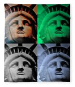 Lady Liberty In Quad Colors Fleece Blanket