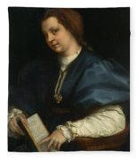 Lady With A Book Of Petrarch's Rhyme Fleece Blanket